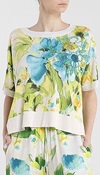 Белая блуза Twin-Set с принтом-цветами, фото