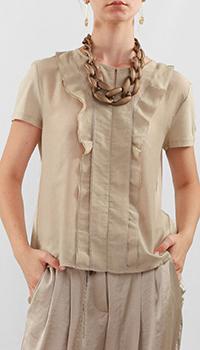 Бежевая блуза Luisa Cerano с фактурными оборками, фото