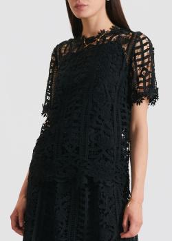 Черный топ из кружева Blugirl Blumarine с коротким рукавом, фото