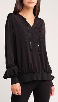 Черная блуза Sportalm Pandor с вышивкой, фото