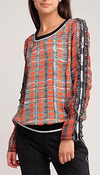 Блуза в клетку Sportalm с рюшами на рукавах, фото