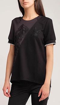 Черная блуза Sportalm Abi с вырезами на спине, фото