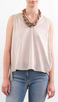 Хлопковая блуза-топ Fabiana Filippi с удлиненной спиной, фото