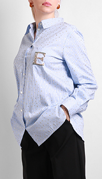 Голубая рубашка Ermanno Ermanno Sсervino с принтом-звездами, фото