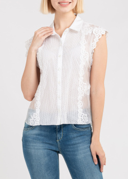 Белая блузка Ermanno Ermanno Scervino с кружевом, фото