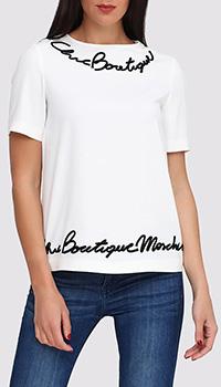 Белая блуза Boutique Moschino с коротким рукавом, фото