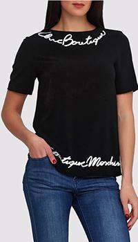 Блуза черная Boutique Moschino с белой надписью, фото