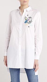 Белая рубашка-туника Trussardi Jeans с вышивкой, фото