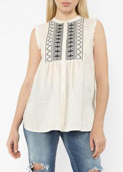 Льняная блузка Max Mara с вышивкой, фото