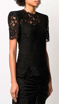 Черная блуза Dolce&Gabbana с кружевом, фото