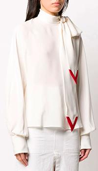 Шелковая блузка Valentino с завязками на шее, фото