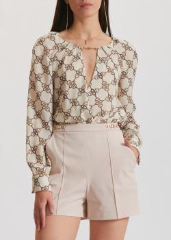 Блуза-боди Elisabetta Franchi с фирменным принтом, фото