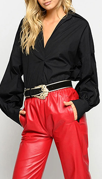 Черная рубашка Pinko с бахромой, фото