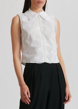 Белая блузка Elisabetta Franchi с брендовой вышивкой, фото