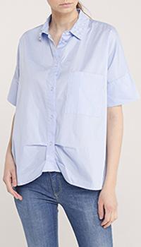 Голубая рубашка Blugirl Blumarine с коротким рукавом, фото