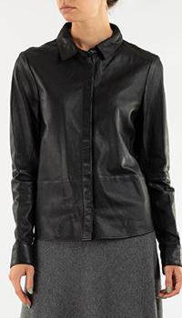Кожаная рубашка Repeat Cashmere черного цвета, фото