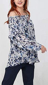 Синяя блузка Twin-Set с длинным рукавом, фото