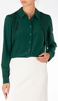 Шелковая блузка Patrizia Pepe зеленого цвета, фото