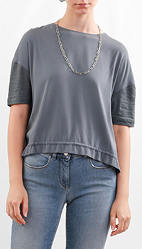 Блуза с коротким рукавом Fabiana Filippi из шелка и льна, фото