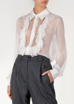 Прозрачная блуза Alberta Ferretti с жабо, фото