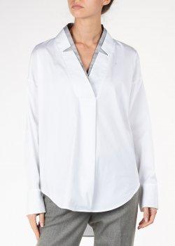 Белая блуза Lorena Antoniazzi с контрастным вырезом, фото