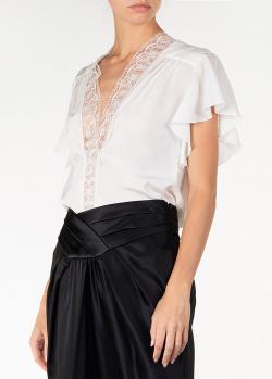 Белая блуза Alberta Ferretti из шелка с кружевом, фото