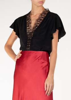Шелковая блуза Alberta Ferretti черного цвета, фото