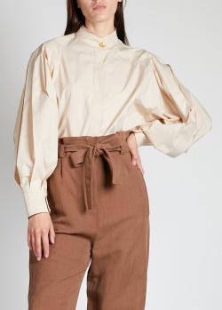 Блузка с защипами Alberta Ferretti бежевого цвета, фото