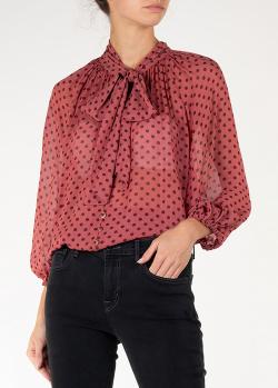 Шелковая блуза Zimmermann в черный горох, фото