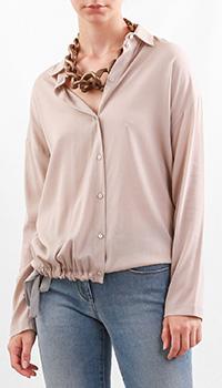 Рубашка из шелка Fabiana Filippi бежевого цвета, фото