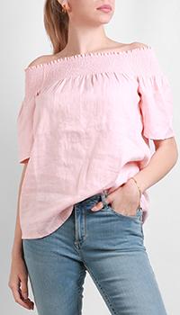 Льняная блузка Silvian Heach с открытыми плечами розового цвета, фото