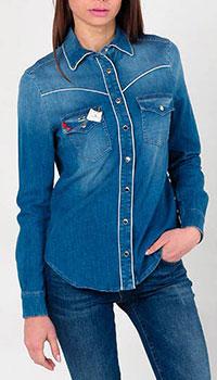 Джинсовая рубашка Elisabetta Franchi с декором, фото