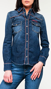 Джинсовая рубашка Elisabetta Franchi темно-синего цвета, фото