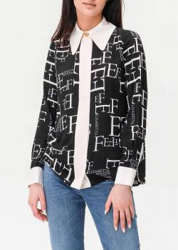 Черная блуза Elisabetta Franchi с принтом-буквами, фото