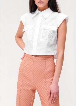 Белая блуза Elisabetta Franchi с брендовой перфорацией, фото