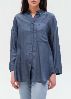 Рубашка-оверсайз Emporio Armani синего цвета, фото
