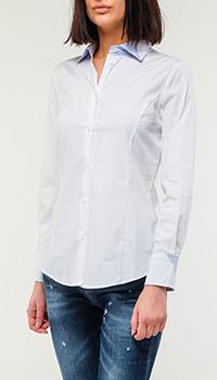 Белая рубашка Emporio Armani со вставками голубого цвета, фото