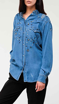 Джинсовая рубашка Ermanno Ermanno Scervino с вышивкой, фото