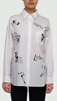 Белая рубашка Ermanno Ermanno Scervino с принтом и стразами, фото