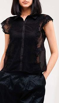Черная блуза Ermanno Ermanno Scervino с коротким рукавом, фото