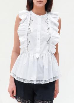 Белая блузка Ermanno Ermanno Scervino с рюшами, фото