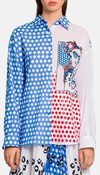 Рубашка Ermanno Ermanno Scervino с принтом голубого цвета, фото