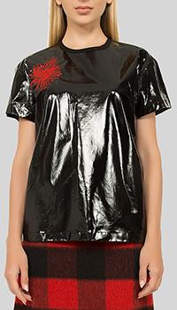 Черная блузка N21 с принтом-цветком, фото