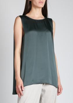Шелковый топ Fabiana Filippi темно-зеленого цвета, фото