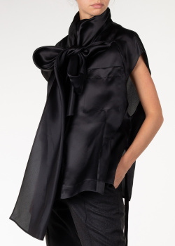 Черная шелковая блуза Nina Ricci с объемным бантом, фото