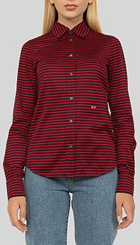 Полосатая рубашка N21 красного цвета, фото