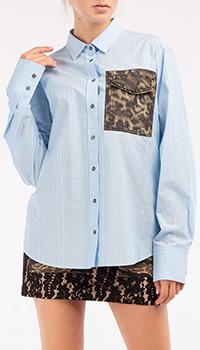 Голуюая рубашка N21 в полоску, фото