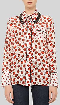 Блузка N21 с декором-кристаллами на воротнике, фото