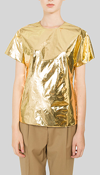 Золотистая блузка N21 прямого кроя, фото