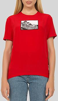 Блузка N21 красного цвета с декором-аппликацией, фото